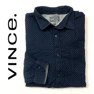 VINCE. Navy/Gray Button Down Shirt mens size Large